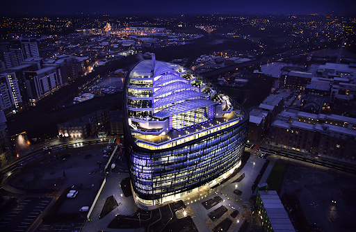 One Angel Square in Manchester at night