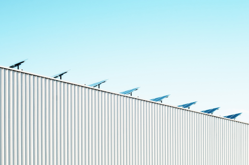 Row of solar panels on rooftop