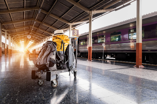Suitcase and backpack on trolly in train station